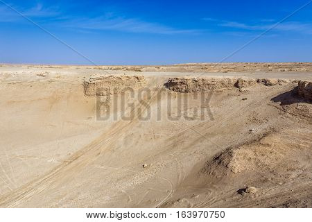 Aerial view from crusted dunes on Maranjab Desert in Iran