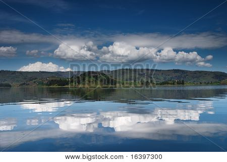 Lake with a sky reflection