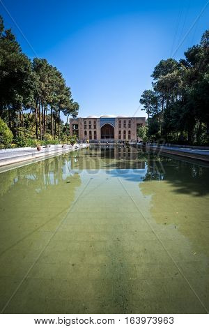 Chehel Sotoun pavilion and pool in Isfahan city Iran