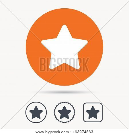 Star icon. Favorite or best sign. Web ranking symbol. Orange circle button with web icon. Star and square design. Vector