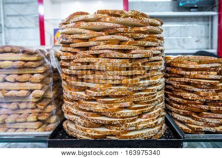 Slices of Iranian bread in bakery in Isfahan
