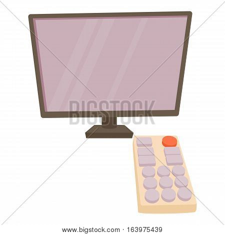 TV with remote icon. Cartoon illustration of TV with remote vector icon for web