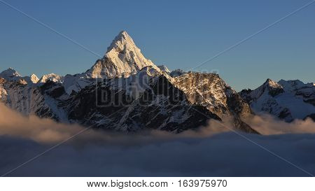 Mount Ama Dablam just before sunset. View from Kala Patthar Everest National Park.