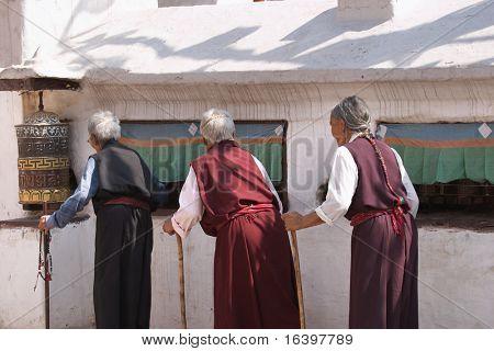 Elderly women in buddhist temple