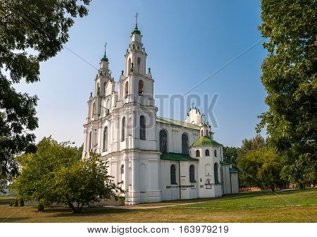 Beautiful summer view of catholic Saint Sophia Cathedral in Polotsk, Cathedral of Holy Wisdom, Belarus