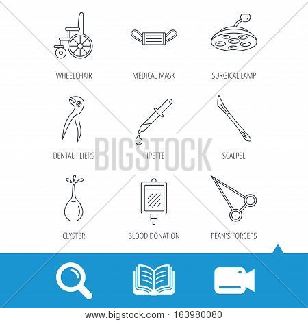 Medical mask, scalpel and dental pliers icons. Pipette, surgical lamp and wheelchair linear signs. Blood donation, clyster and drop flat line icons. Video cam, book and magnifier search icons. Vector