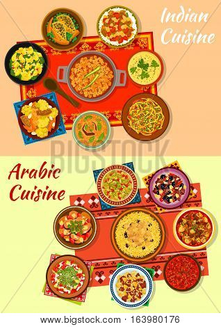 Indian and arabic cuisine dinner icon with meat and vegetable curry and stew, chicken rice, spinach potato, warm cabbage and zucchini salads, snack pie, lamb tagine with dried fruit