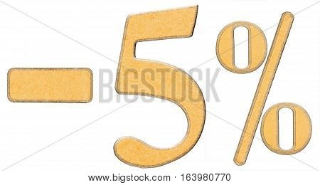 Percent Off. Discount. Minus 5 Five Percent, Numerals Isolated On White Background