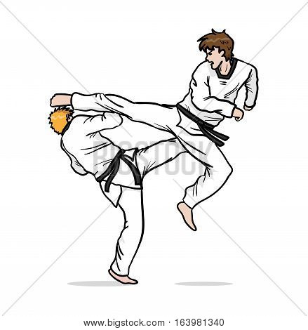 Taekwondo Fight. A hand drawn vector cartoon illustration of 2 guys fighting.