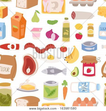 Everyday food seamless pattern. Common goods and products we get by shopping in supermarket. Breakfast or dinner eating vector gastronomy elements background.