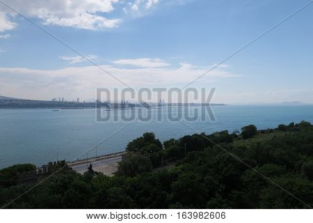 View from Topkapi Palace at the entrance of the Bosphorus at the Marmara Sea, in Istanbul, Turkey