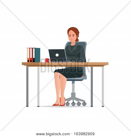 Business woman in a suit working on a laptop computer at her office desk with coffee cup and file document character Flat design style vector illustration.