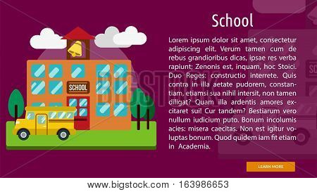 School Conceptual Banner | Great flat icons with style long shadow icon and use for building, construction, public places, station, store, and much more.