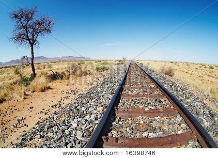 Bahnstrecke in der namibischen Wüste