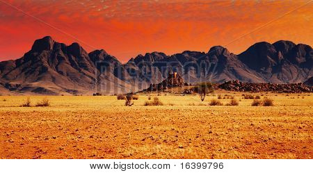 Colorful sunset in Namib Desert, Namibia