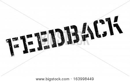 Feedback stamp. Grunge design with dust scratches. Effects can be easily removed for a clean, crisp look. Color is easily changed.