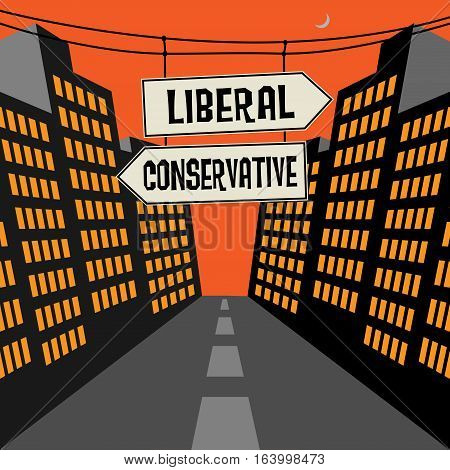 Road sign with opposite arrows and text Liberal - Conservative vector illustration