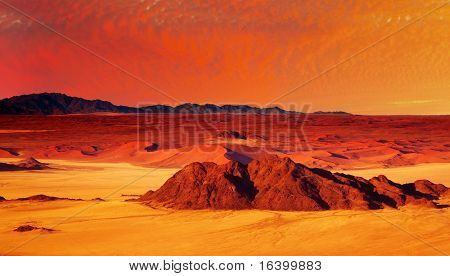 Desert fantasy with red sunset, birds-eye view
