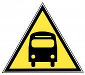 Постер, плакат: знак желтый треугольник с шиной транспорт концепции