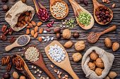 Various Legumes And Different Kinds Of Nutshells In Spoons. Walnuts Kernels ,hazelnuts, Almond ,brow poster