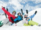 stock photo of family ski vacation  - Family ski - JPG