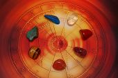 esoteric stones in a circle on  astrological wheel