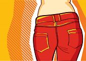 Woman in red fashion pants .Retro style for design