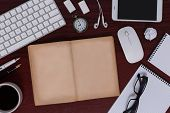 Messy Antique Style Of Business Desk Equipment And It Gadgets Flat Lay Display Of Blank Antique Book poster