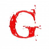 stock photo of g-spot  - Red blood liquid alphabet  - JPG