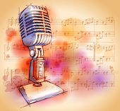Vector Classic Microphone, watercolor background & notes - Original design