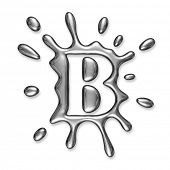 image of letter b  - Liquid metal letter B  - JPG