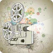 Постер, плакат: Ретро кинопроектор & цветочные каллиграфии орнамент стилизованный Орхидея фон краска цвета