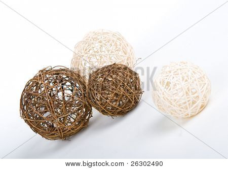 wooden clews over white background