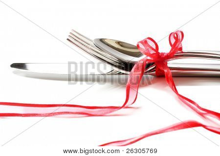 cutlery with romantic red ribbon