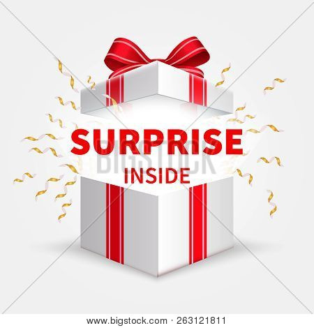 poster of Gift Box With Ribbon. Opening White Box. Birthday Surprise And Christmas Present Vector Concept. Ill
