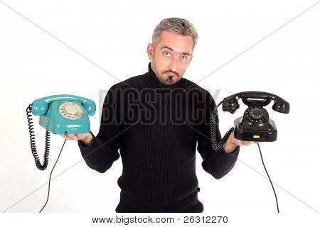 Man with telephones