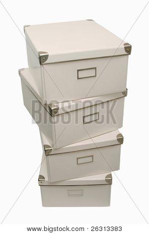 White storage boxes