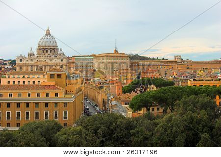 Saint Peter's Basilica, panoramic view, Rome, Italy