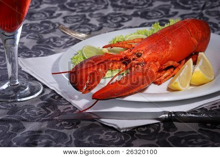 Lobster Dinner served on plate with lemon