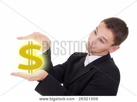 Businessman Holds Golden Us Dollar Sign