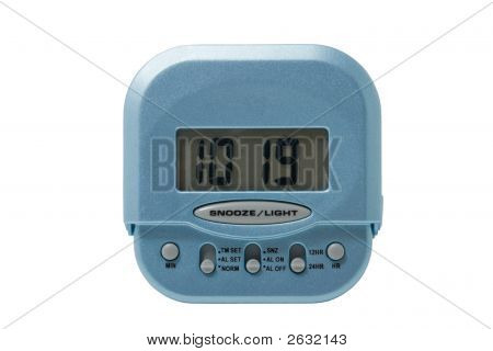 Blue Electronic Alarm Clock Isolated