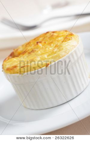 Cottage pie in the small stoneware baker