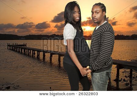 Expecting Parents Black African American Couple