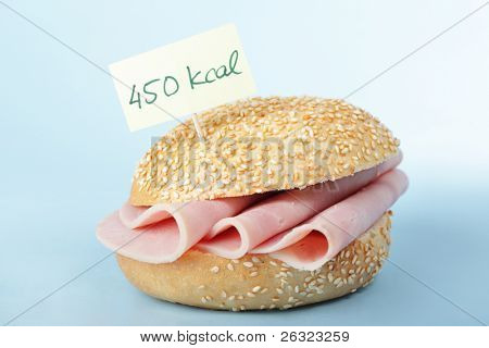 Sandwich with ham and the label with its nutritional value