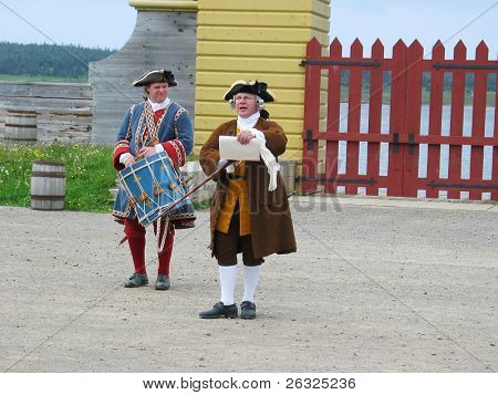 Town crier with his drummer at Fortress Loisburg, Nova Scotia