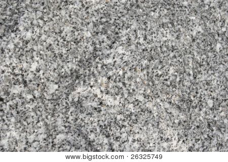 A smooth surface of granite with various speckles of grey, black, silver and white.