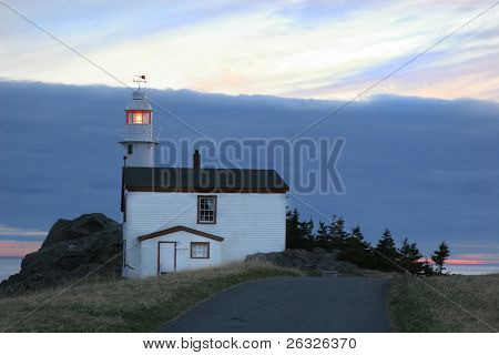 Lighthouse in Lobster Cove (near Rocky Harbour) in Gros Morne National Park, Newfoundland, Canada.