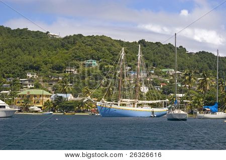 Boats moored in Admiralty Bay on the island of Bequia, St. Vincent and the Grenadines.
