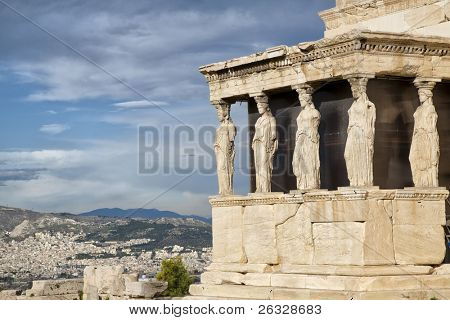 Caryatids at Erechtheum of Parthenon in Athens Greece Erechtheion