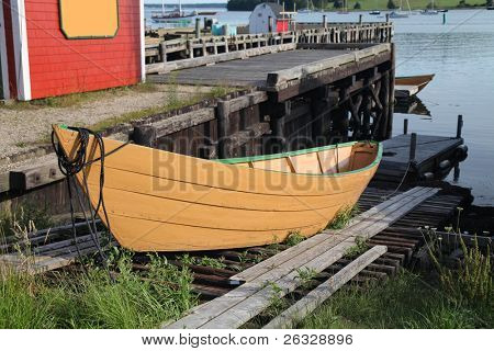 A traditional wooden dory on a slipway in Lunenburg, Nova Scotia, Canada.